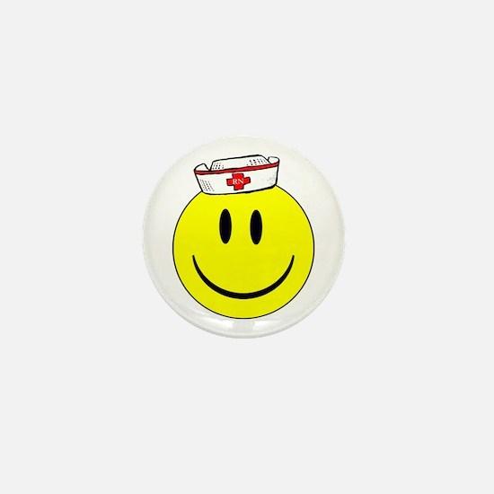 RN Nurse Happy Face Mini Button