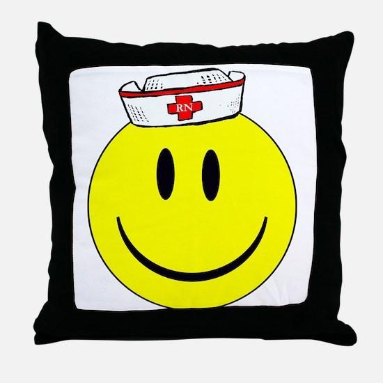 RN Nurse Happy Face Throw Pillow