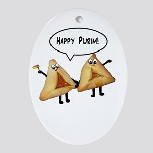 Happy Purim Hamantaschen Ornament (Oval)