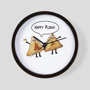 Happy Purim Hamantaschen Wall Clock