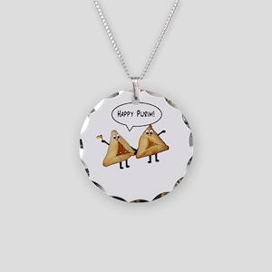 Happy Purim Hamantaschen Necklace Circle Charm