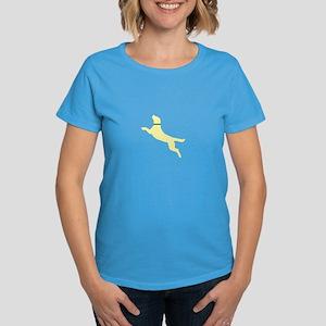Yellow Dock Jumping Dog Women's Dark T-Shirt