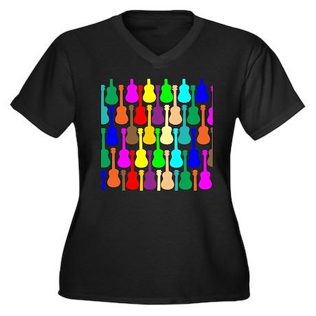 Rainbow Ukulele Women's Plus Size V-Neck Dark T-Sh