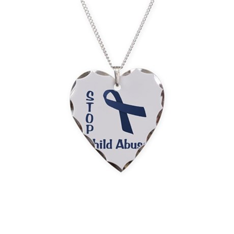 Stop Child Abuse Necklace Heart Charm