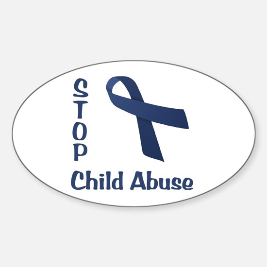Stop Child Abuse Sticker (Oval)