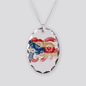 Puerto Rico Flag Necklace Oval Charm