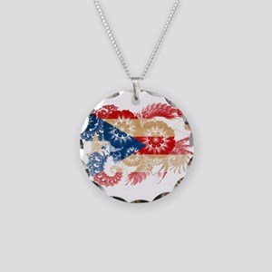 Puerto Rico Flag Necklace Circle Charm