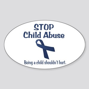 Stop Child Abuse It Hurts Sticker (Oval)