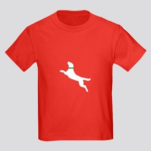 White Dock Jumping Dog Kids Dark T-Shirt