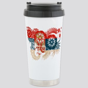 Serbia Flag Stainless Steel Travel Mug