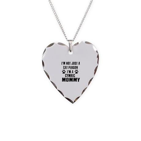 Cymric Cat Design Necklace Heart Charm