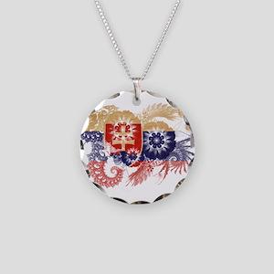 Slovakia Flag Necklace Circle Charm