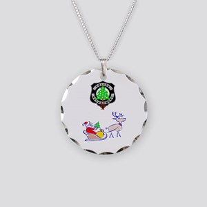 Police Christmas Necklace Circle Charm