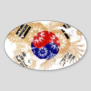 South Korea Flag Sticker (Oval)