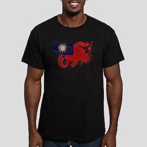 Taiwan Flag Men's Fitted T-Shirt (dark)
