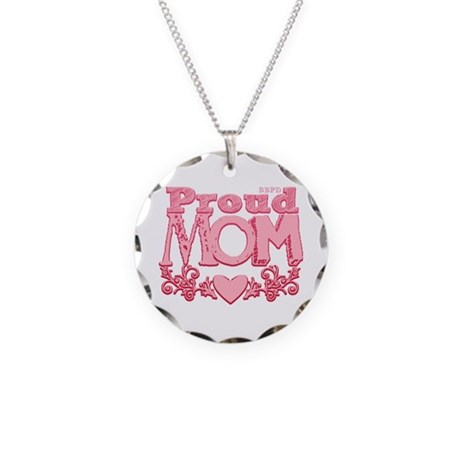 Proud Mom Necklace Circle Charm