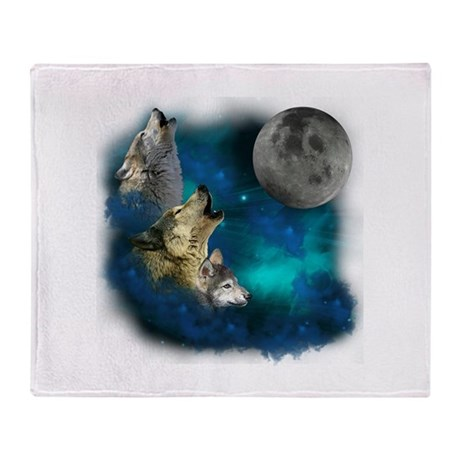 Northern Lights Wolfs Family Moon Throw Blanket