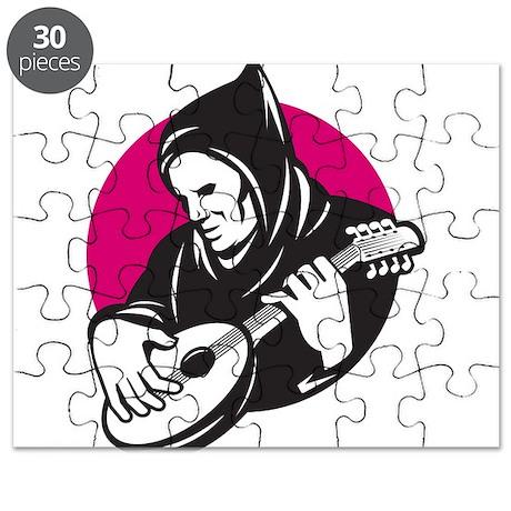 Hooded Man Playing Banjo Guit Puzzle