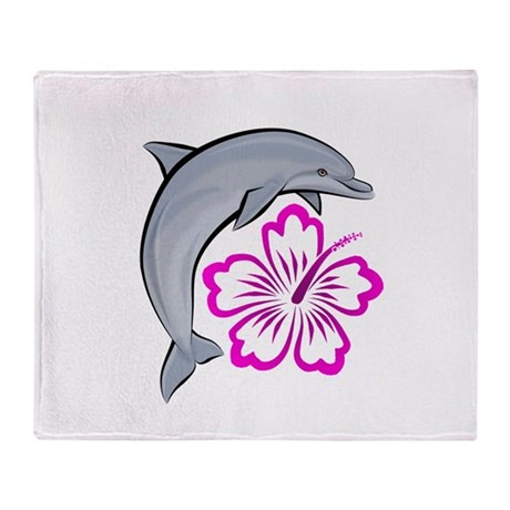 Dolphin Hibiscus Pink Throw Blanket