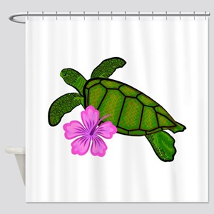 Colored Sea Turtle Hibiscus Shower Curtain