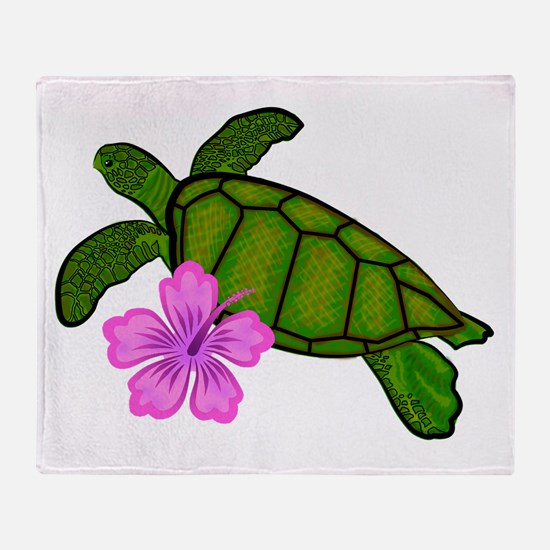 Colored Sea Turtle Hibiscus Throw Blanket