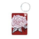 White Rose on Red Aluminum Photo Keychain