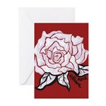 White Rose on Red Greeting Cards (Pk of 10)