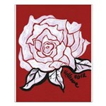 White Rose on Red Small Poster