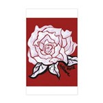 White Rose on Red Sticker (Rectangle)