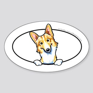 Fawn White Corgi Peeking Bumper Sticker (Oval)