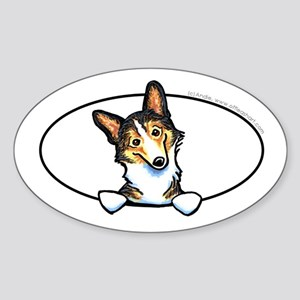 Tricolor Corgi Peeking Bumper Sticker (Oval)