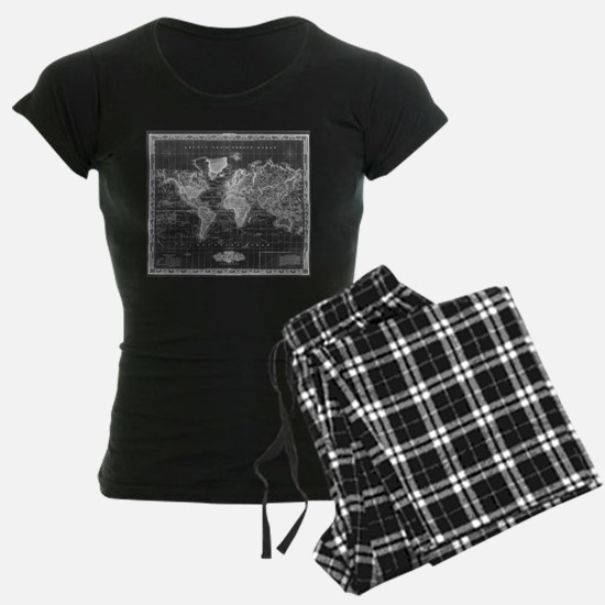 Vintage Map of The World (1833) Black & Wh Pajamas