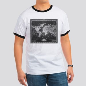 Vintage Map of The World (1833) Black & Wh T-Shirt