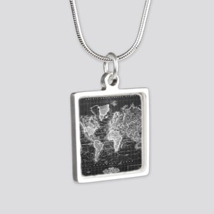 Vintage Map of The World (1833) Black & Necklaces