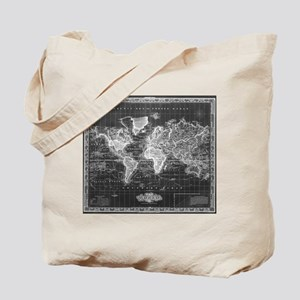 Vintage Map of The World (1833) Black & W Tote Bag