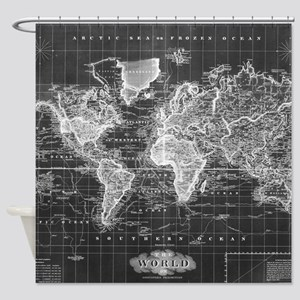 Vintage Map Of The World 1833 Bla Shower Curtain