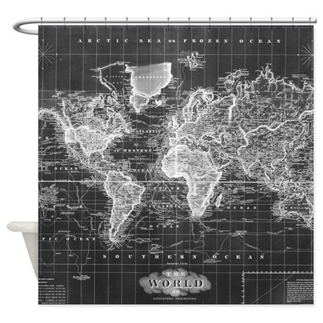 Vintage Map Of The World 1833 Bla Shower Curtain By ADMIN CP17960464