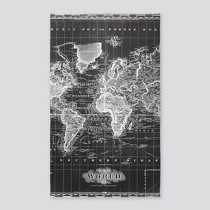 Vintage Map of The World (1833) Black & W Area Rug