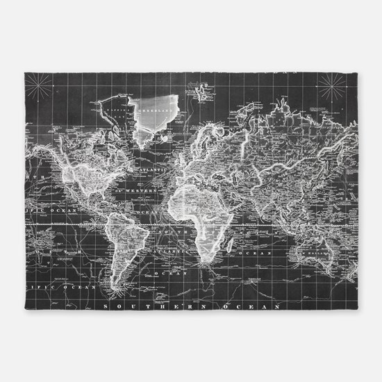 Vintage Map of The World (1833) Bla 5'x7'Area Rug