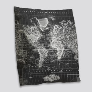 Vintage Map of The World (1833 Burlap Throw Pillow