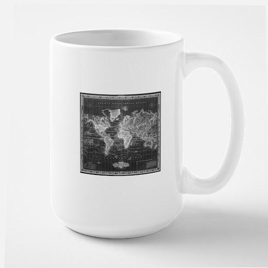 Vintage Map of The World (1833) Black & White Mugs