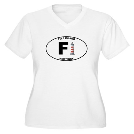 Fire Island Women's Plus Size V-Neck T-Shirt