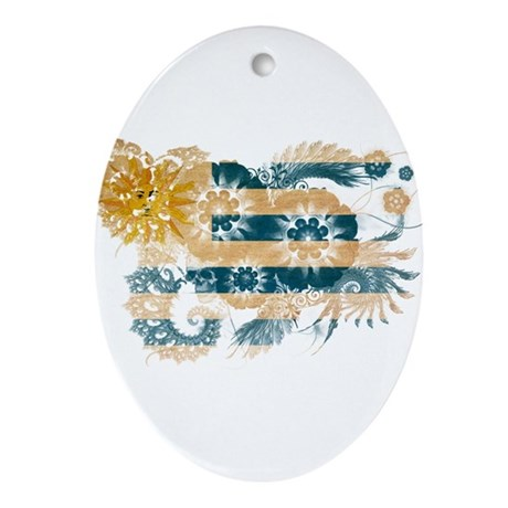 Uruguay Flag Ornament (Oval)