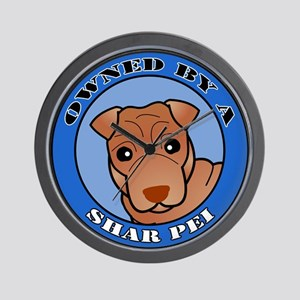 Owned by a Shar Pei - Red Coa Wall Clock