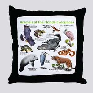 Animals of the Florida Everglades Throw Pillow