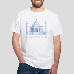 """""""Pixel Taj Mahal"""" White T-Shirt"""