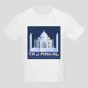 """""""Pixel Taj Mahal with Stars"""" Kids Light T-Shirt"""
