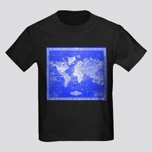 Vintage Map of The World (1833) Blue & Whi T-Shirt