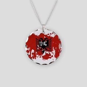 Albania Flag Necklace Circle Charm
