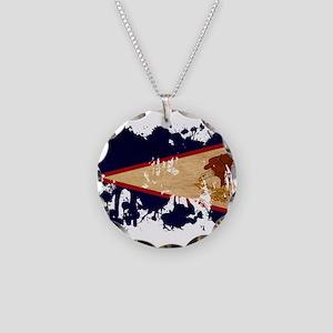 American Samoa Flag Necklace Circle Charm